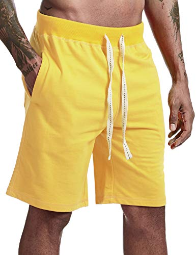 Arloesi Men's Casual Cotton French Terry Shorts Yellow