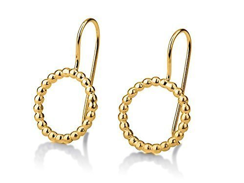 Round Hoop Dangle Earrings 14 Nippon regular Beauty products agency Gold Yellow kt
