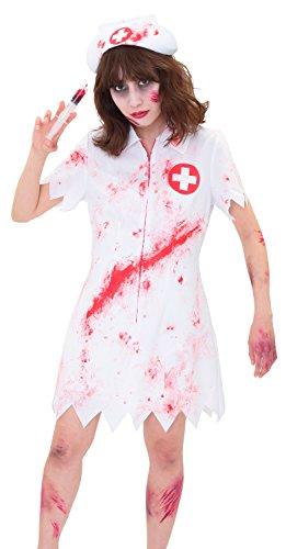Clearstone Splatter Verpleegster Cosplay dames Wit (met bloed lijm-injectiespuit)