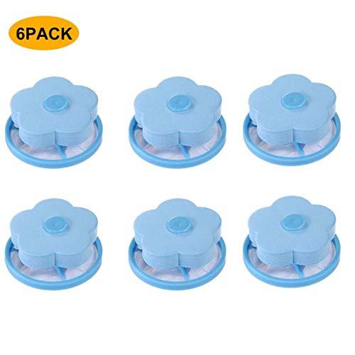 Rameng Lot de 6 Filtre de Cheveux Net Machine à Laver Flottante Sac de Maille de Peluche Filet Réutilisable Outil de Nettoyage (bleu)