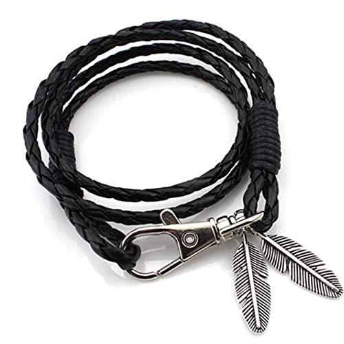 Pulsera multicapa de cuero con plumas de hoja Vintage para hombre, pulseras y brazaletes de cuerda con forma de estrella trenzada a la moda para hombre, regalo para hombre