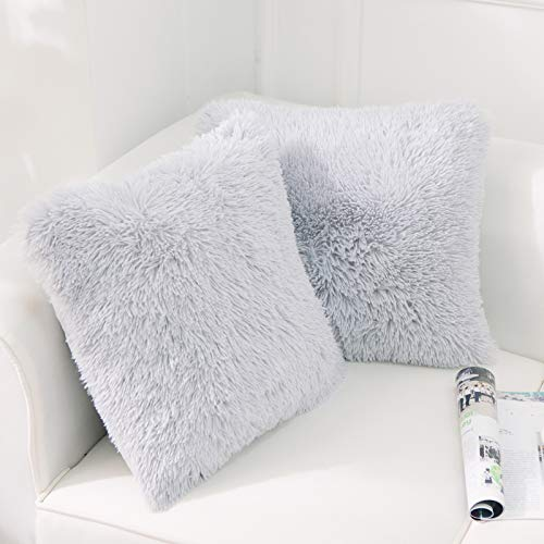 NordECO HOME Luxury Soft Faux Fur Fleece Cushion Cover Pillowcase Decorative Throw Pillows Covers, No Pillow Insert, 18' x 18' Inch, Light Grey, 2 Pack