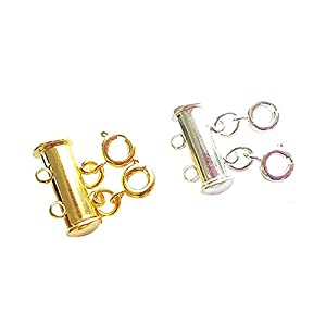 Silver/&Golden Layered Necklace Spacer Clasp Slide Magnetic Tube Lock for Layered Bracelet Necklace Jewelry Making Crafts