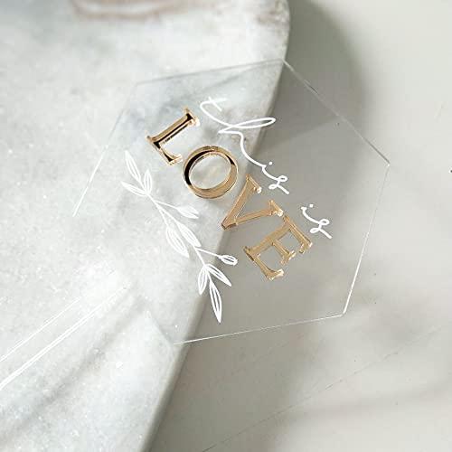 Cake Topper Acryl Hexagon | This Is Love | Gold | Tortenstecker | Tortefigur | Kuchenaufstecker | Hochzeit (Grau)