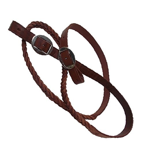 7.5' Hand Braided One Piece Brown Leather Roping-Trail-Barrel Rein