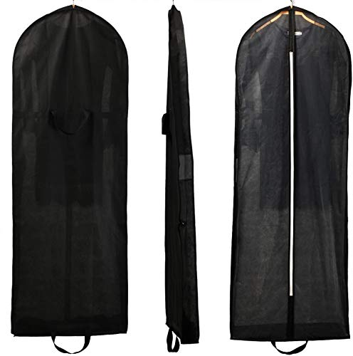 HIMRY® Transpirable Bolsa de Ropa, Aprox. 149 cm, con Cremallera de Calidad. para Vestidos de Fiesta, Trajes, Abrigos, 2 Bolsillos para Accesorios - Negro, KXB107 Black