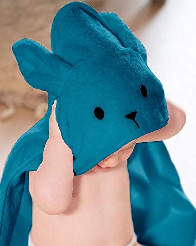 Toalla con capucha 100% algodón unisex para recién nacido recién nacido, 450GSM, tamaño 70 x 70 cm, ideal para regalo de Navidad azul Azul Gasolina.