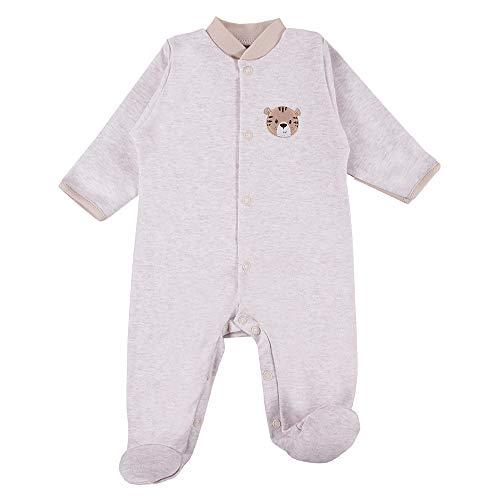 Eevi Baby Love - Tutina per bambini e bambine, 100% cotone, a maniche lunghe, con protezione per le mani, taglie 46/48/50/56/62/68, colore: blu, rosa, beige, grigio beige. 56 cm