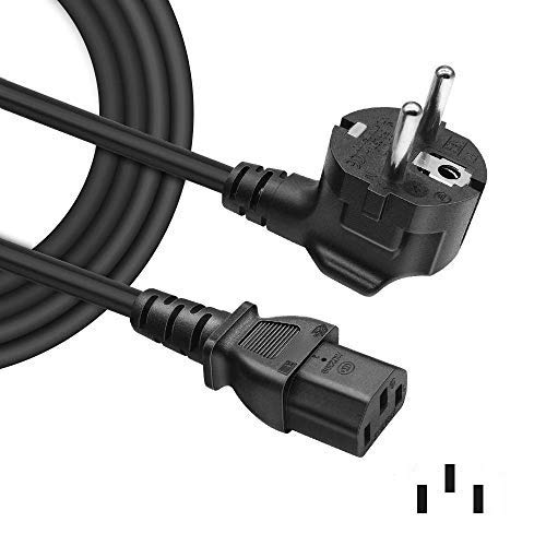 BENSN Euro Netzkabel 3-polig Netzstecker Gerade für Samsung/Toshiba/LG/Sony/Panasonic/Acer/Asus/BenQ/Dell/Compaq LCD-Plasma-TV und LED-Monitor(C13 Stromkabel Kaltgerätestecker)