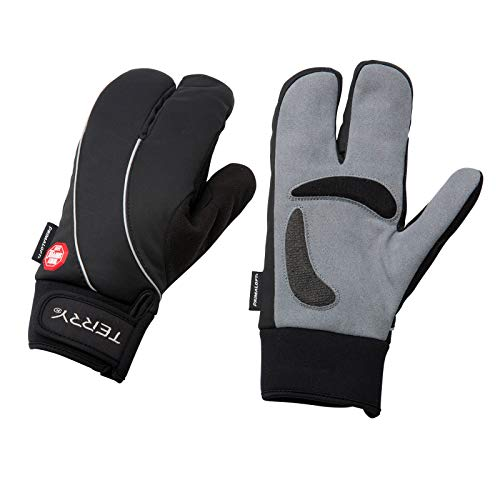 Terry Windstopper Split Mitt Woman's Specific Padded Insulated Cycling Gloves with Gel Padding Ergonomic Ulnar Nerve Relief Bike Mittens for Women – Black – L/XL