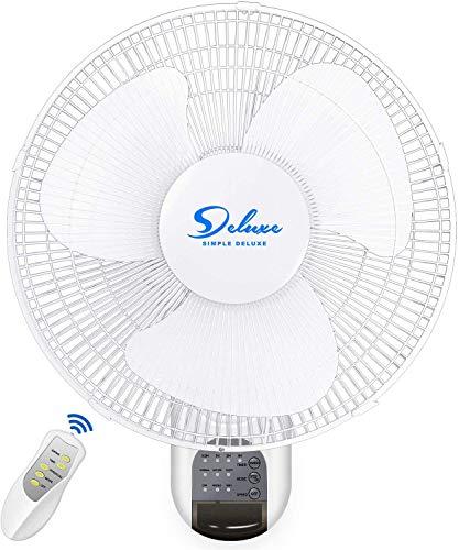 16-Inch Digital Wall Mount Oscillating Fan w/Remote,White,1 Pack