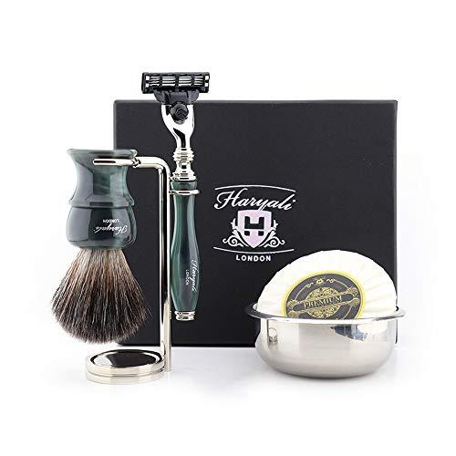 Haryali London 5 Pc Heren Scheren Kit met 3 Rand Scheerscheerapparaat, Synthetische Badger Haar Scheerborstel, Standaard, Zeep en Bowl Perfect Nieuwjaar Gift Set voor Mannen