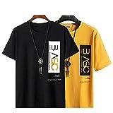 STATUS MANTRA Cotton Regular Fit Half Sleeves Basic Printed T-Shirt T-Shirt for Mens - Yellow, Black (Large, Combo of 2)