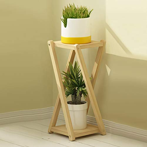 Jardinière en bois massif Double couche de sol pour intérieur, balcon Plantes vertes, plantes en pot Pots à fleurs Etagère (Couleur : B, taille : 24 * 24 * 55cm)