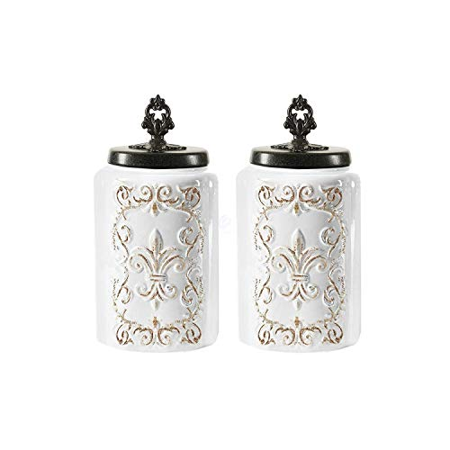 American Atelier Ceramic Canister Set 2-Piece Jars Chic Design w/Airtight Stainless Steel Lids for Cookies, Candy, Coffee, Flour, Sugar, Rice, Pasta, Cereal & More, 2 Large, Antique White