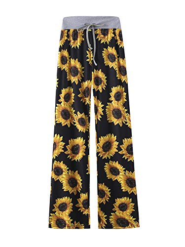 Kelinfei Women Drawstring Palazzo Wide Leg Lounge Pants Pajama Pants Sleepwear Yoga Pants (Sunflower, M)