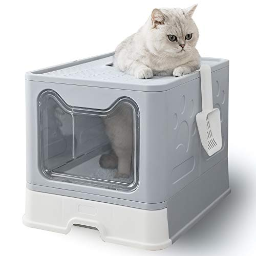 HIPIPET Cat Litter Box Top or FrontEntry Configurable with Cat Litter Scoop Drawer Design Cat Litter Pan