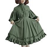 NHNKB Lolita - Vestido de invierno para mujer con cinturón, estilo vintage, manga larga, color verde, XL