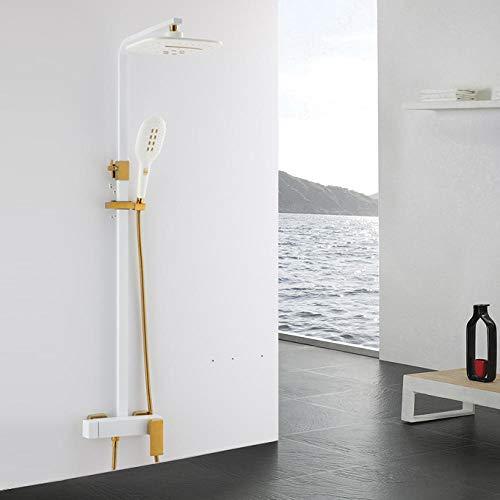 Rubinetti per doccia contemporanei per bagno in oro bianco Set soffione a pioggia Miscelatore a 3 vie Rubinetto per vasca fuori porta Rubinetto per doccia