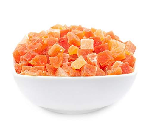 1 x 600g Papaya gehackt gewürfelt kandiert für Joghurt Quark Müsli sehr fettarm salzfrei vegetarisch vegan glutenfrei laktosefrei 100 % Premium