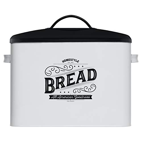 Extra Large White Bread Box with Black Lid - Bread Boxes for Kitchen Counter - Holds 2 Loaves for All Your Bread Storage – Farmhouse Kitchen Vintage Bread Storage Container and Counter Organizer