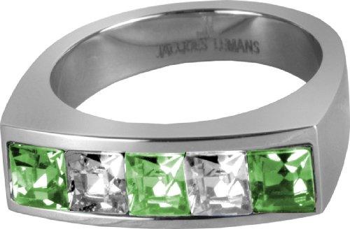 JACQUES LEMANS Ring besetzt mit Funkelnde Kristallen massiv Edelstahl