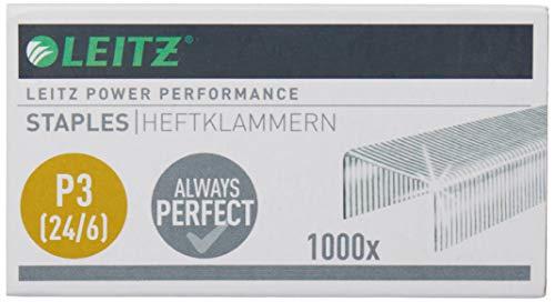 Leitz Power Performance Heftklammern P3 (24/6), 1000 Stück, Verzinkt, 55700000