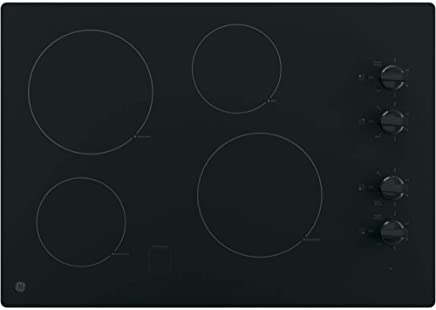 GE JP3030DJBB 30 Inch Smoothtop Electric Cooktop with 4 Radiant Elements, Knob Controls, Keep