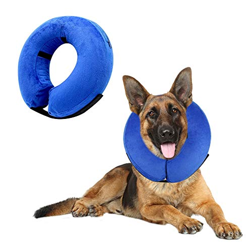 VST Comfy Cone for Dogs,Protective Inflatable Soft Dog Cone Collar,Pet Recovery Cone Dog E-Collar Cones Alternative after Surgery Prevent Pets from Touching Biting Scratching at Injuries Wounds-Large