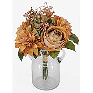 Artificial Fall Flowers,Artificial Silk Rose & Dahlia Flowers Bouquet, Silk Dahlia & Rose Flowers Bouquet (Straw Yellow)