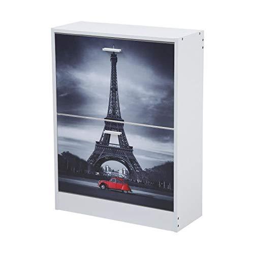 Mac - Mueble Zapatero con 2 Puertas abatibles, 60 x 24 x 80 cm, Color Blanco