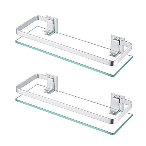 KES Bathroom Glass Shelf Anodized Aluminum Tempered Glass 8MM Extra Thick 2 Pack Retangular 1 Tier Storage Organizer Wall Mount Sliver, A4126A-P2