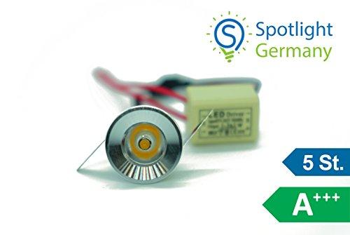 Preisvergleich Produktbild 5er SET * CNC ALU * Silber Mini LED 30MM Deckenleuchte Einbauleuchte *** Warmweiss 3000K 1W mit mini Trafo / Spotlight Germany das Original