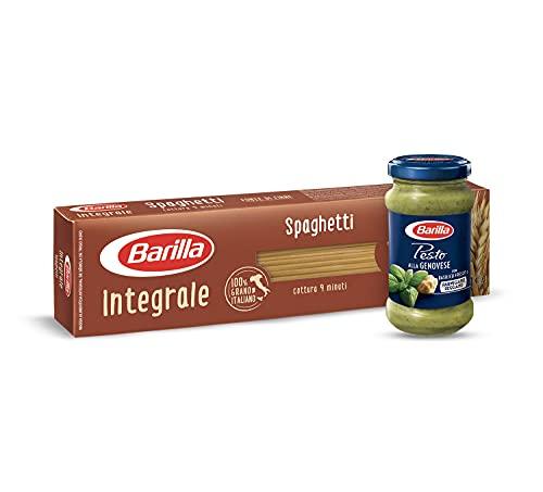 Barilla Pasta Spaghetti Integrali + Sugo Pesto alla Genovese con Basilico Fresco Italiano e Parmigiano Reggiano Dop