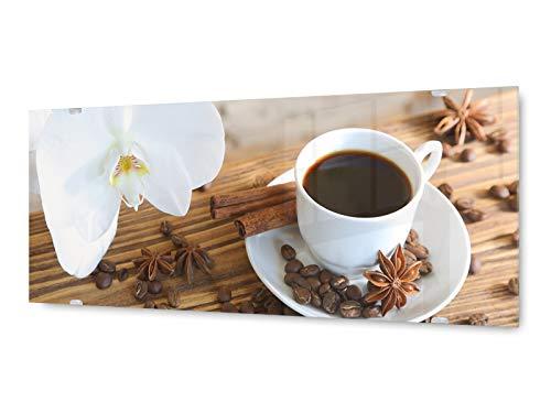 KD Dsign+ Glasbild Wandbild GLX12563333767 Orchidee Kaffee 125 x 50cm / inkl. neues Aufhängesystem