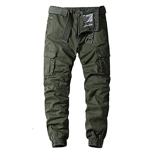Pantalones Casuales con pies relajados para Hombre, Ropa de Calle a la Moda, Ropa de Calle con Personalidad Multibolsillos, Pantalones Cargo de Color sólido 38