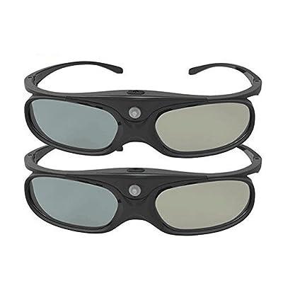 DLP Link 3D Glasses, ELEPHAS 144Hz Rechargeable Active Shutter Eyewear for All DLP-Link 3D Projectors- Acer, ViewSonic, BenQ Vivitek, Optoma, Panasonic, Dell, Viewsonic etc (2 Pack)