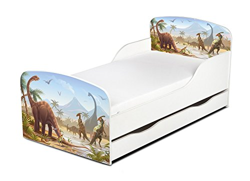 Leomark Cama Infantil Completa de Madera - Dinosaurios Jurassic- Marco de Cama, Colchón y Cajón, Somier, Blanco Muebles para Niños, Moderno Dormitorio, Espacio para Dormir: 140/70