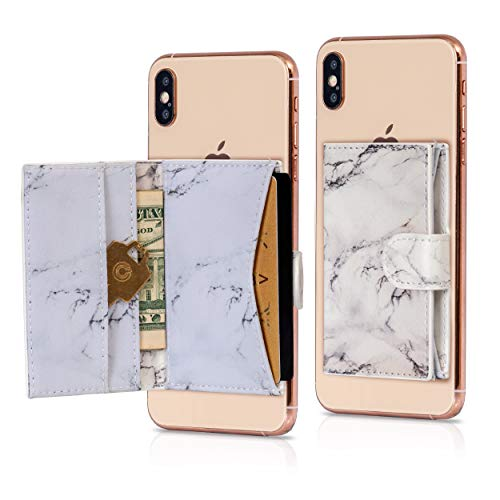 Cell Phone Card Holder Stick on Wallet Phone Pocket for iPhone, Android and All Smartphones (White)