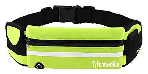 TyForeverStar - Cinturón deportivo para correr al aire libre para hombres y mujeres invisibles elástico impermeable para botella móvil, S, Verde