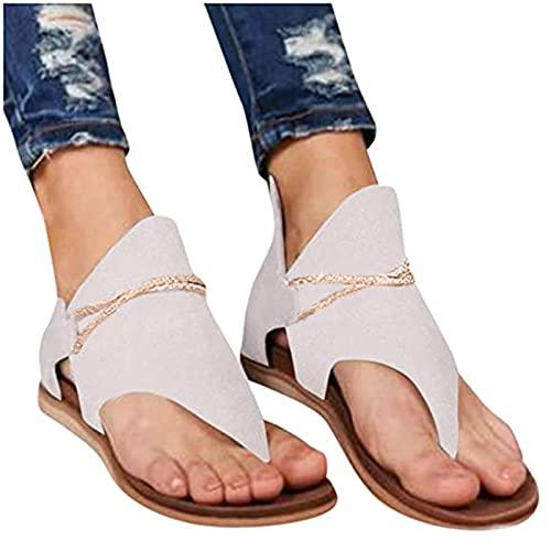 Sandalias Mujer Verano 2021 Zapatos estampados casuales de talla grande para mujers chanclas planas con cremallera trasera Bohemia Sandalias Cómodo Casual Zapatos de Playa