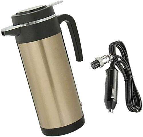 MTCWD Coche Hervidor eléctrico portátil Cafetera Recorrido al Aire Libre hervidor de Agua Luz de Oro de Oro / 12V (Color : 24V|Gold)