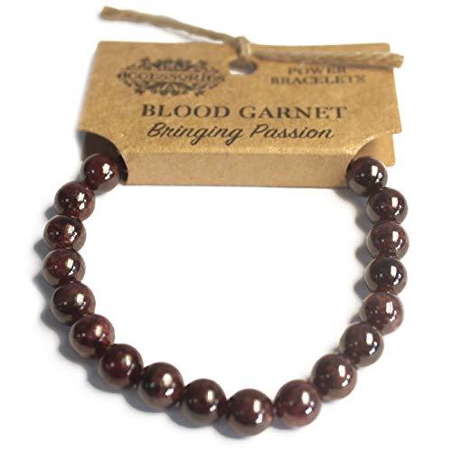 Ancient Wisdom Potencia - Potencia - Pulseras de Chakra/Estirables/Piedra Natural de 8 mm - para su Bienestar - Granate de Sangre