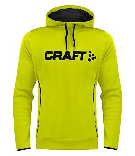 Craft Herren Midlayer Funktionsshirt Kapizenpullover Hoody Logo Hood 1904187, Farbe:Gelb, Größe:L, Artikel:-618675 neon Acid/Pine