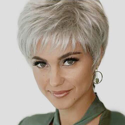 Kurze Haare Perücke Pixie Fransen geschnittenes glattes Haar für Frauen & Männer