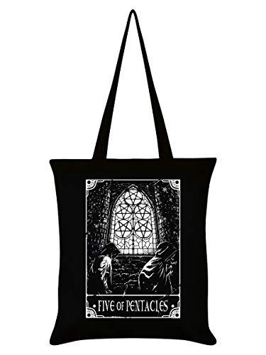 Deadly Tarot-Einkaufstasche, Baumwolle, umweltfreundlich, wiederverwendbar, Schwarz, Fünf Pentagramme, Einheitsgröße