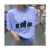 MJS Niñas de Gran tamaño Suelto Bordado Camisas de algodón Verano de Moda Mujer Suave Streetwear Camisa Casual Hembra Tops Mujeres Chic (Color : Azul, Talla : One Size)