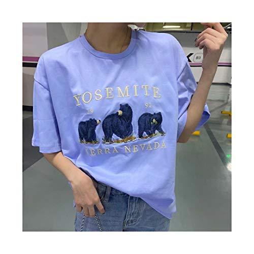 LLZY Niñas de Gran tamaño Suelto Bordado Camisas de algodón Verano de Moda Mujer Suave Streetwear Camisa Casual Hembra Tops Mujeres Chic (Color : Azul, Talla : One Size)