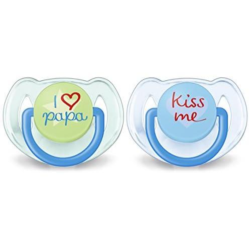 Philips Avent SCF172/71 Succhietti Love Papà e Kiss Blue, Tettarelle Ortodontiche, Senza BPA (6-18 Mesi) - 2 Pezzi
