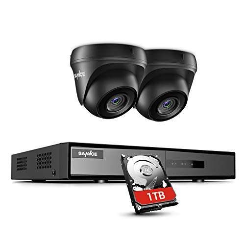 SANNCE Kit Videosorveglianza 1080P Lite DVR TVI 4 Canali 2 Telecamera Sorveglianza Esterno 720P Kit di Sorveglianza H.264 ONVIF Motion Detection P2P Cloud Visione Notturna 1TB HDD